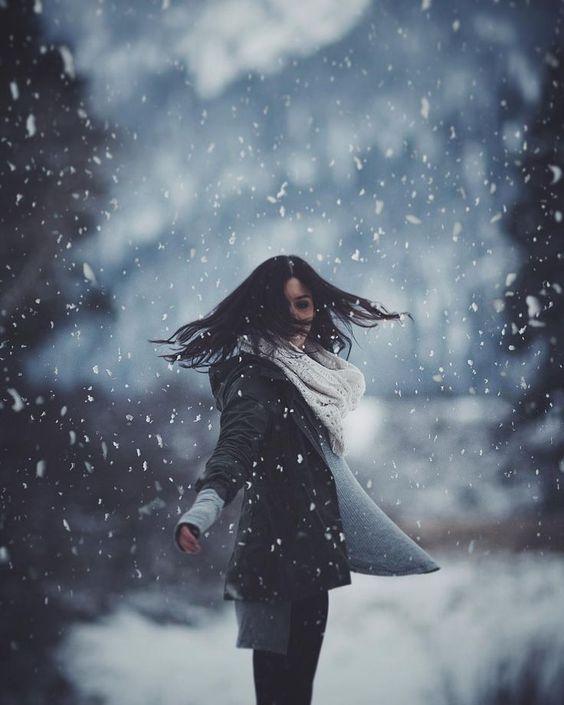 ژست عکاسی در برف ، عکس هنری در برف