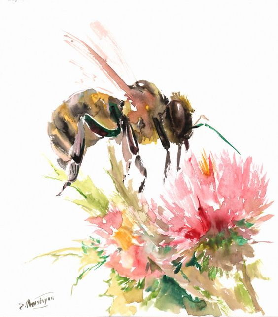 نقاشی زنبور عسل ، ساده و کودکانه