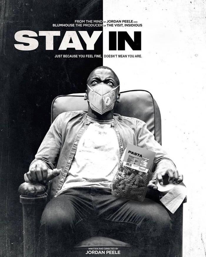 پوستر جذاب Get Out با شمایل جدید و تغییر اسم به Stay In به همراه ماسک و ماده ضد عفونی